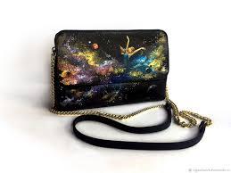 handbags handmade livemaster handmade black leather purse with hand painted girl in