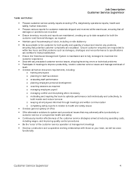 customer service job summary