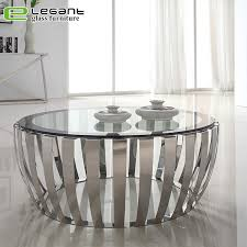 china modern round clear tempered glass coffee table with stainless steel frame base china coffee table glass coffee table