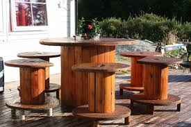 wire spool garden table diy backyard patio decoration