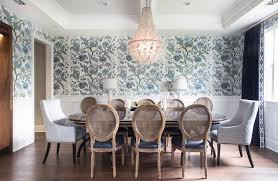 inspiring blue leather dining room chairs and round gray oak dining table with cream leather dining