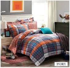 orange and blue bedding sets dreaming blue grey black orange plaids bedding set cotton comforter cover