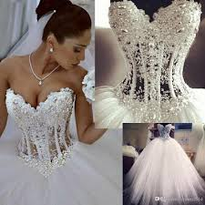 2017 corset ball gown wedding dresses sweetheart beaded crystal