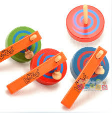 Wooden Spinning Top Game Multi color children wooden spinning tops with handle and rope 48