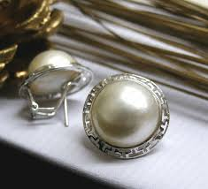 silver rhodium australian mabe pearl earrings sg mb 4 e