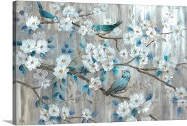teal birds wall art canvas prints