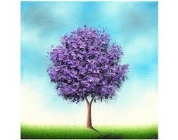 textured palette knife painting original oil painting on canvas abstract art purple tree painting modern contemporary wall art 8x8