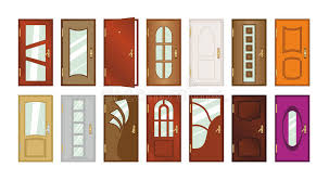 Download Set Of Different Types Of Doors. Stock Illustration - Illustration  of image, handle