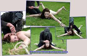 Humiliated laughing naked woman outdoors