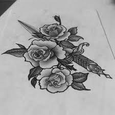 свободный эскиз тату эскиз тольятти арт розы кинжал нож