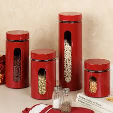 Kitchen Red Ceramic Canister Sets For Kitchen Accessories Ideas