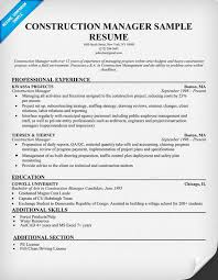 construction resume writing construction manager resume sample