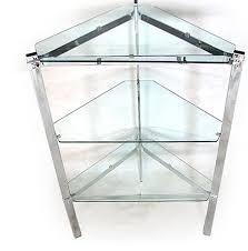 chrome plated steel glass corner shelving unit