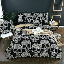 skulls duvet cover details about skulls bedding set black color skull duvet cover pillowcase twin queen