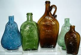 photo to see larger pic of antique flask bottles