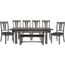 drexel 8 piece weathered gray dining set table 6 upholstered chairs and bench