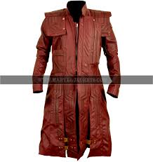 guardian of the galaxy 2 star lord chris pratt mens brown leather trench coat