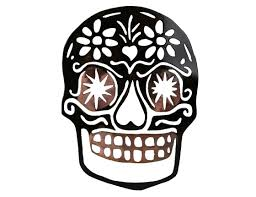 metal decor sugar skull with heart