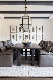 modern farmhouse dining room with leather dining chairs the leather dining chairs are rh cloud dining leather side chair the chairs harmonize with a