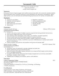 Static Security Officer Sample Resume