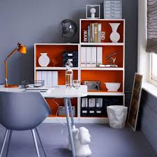 ideas for decorating office. Decoration Fascinating Grey Color Theme With Orange White Book Storage Beside Nice Dark Drapes Window Adorable Office Decorating Ideas For B