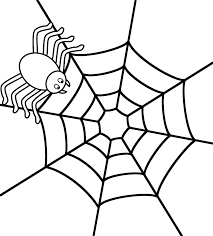Small Picture Spider on web Coloring Page Halloween