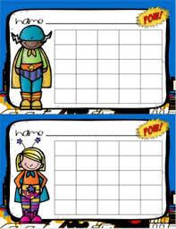 Positive Behavior Sticker Chart Reward Incentives Superhero Theme
