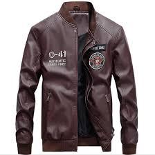 rohopo baseball leather jacket men oneck man s