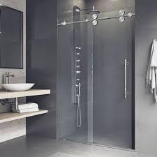 vigo elan 48 x 74 single sliding frameless shower door stainless steel