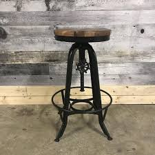 metal and wood furniture. Adjustable Industrial Stool In Recycled Wood And Metal Furniture