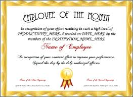 Certificate Of Recognition Wordings Navy Blue Bordered Employee Of The Month Certificate Award Wording