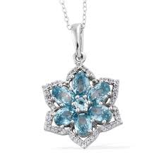 cambodian blue zircon cambodian zircon platinum over sterling silver flower pendant with chain 20 in tgw 5 85 cts pendants jewelry