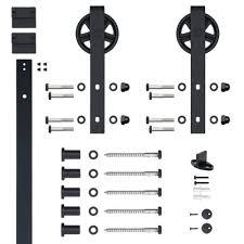 Hook Strap Black Rolling Barn Door Hardware Kit with 5 in. Wheel ...