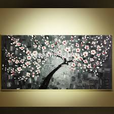 hand painted pink white cherry blossom tree on black wall art picture home decor palette knife