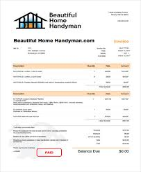 6 Handyman Invoice Template Free Sample Example Format Download