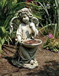 garden angel statues. Sitting Garden Angel Holding Bird Feeder Statue 14.5 Inches [GAR4012] Statues