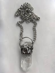 large quartz necklace point natural clear raw crystal pendant rocker biker gypsy rock n roll goth gothic punk in boho quartz crystal