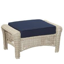 hampton bay park meadows offwhite wicker outdoor ottoman with