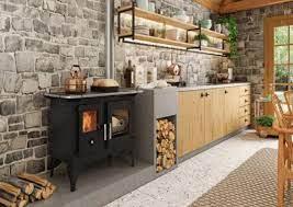 Revestimento perfeito com madeira no balcão e tijolos em todas as paredes. Area Gourmet Com Fogao A Lenha 57 Ideias Incriveis Para Seu Espaco