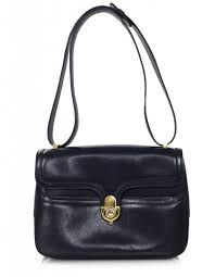 gucci vintage. gucci vintage navy leather shoulder bag