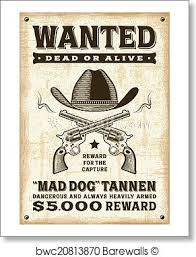 Vintage Western Wanted Poster Art Print Poster