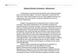 religious studies coursework missionaries gcse religious  document image preview