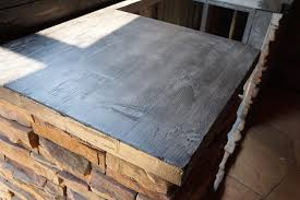 wood look concrete countertops for outdoor kitchens