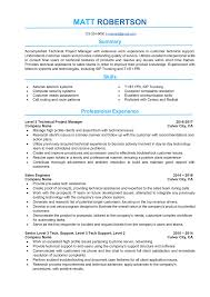 Project Management Manager Resume Bullets Executive Summary Skills