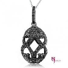 1 52 carat fancy black diamond faberge egg pendant 18 inches necklace 10k white gold nyc diamond jewelry retail
