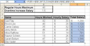 Excel Overtime Formula Toms Tutorials For Excel Calculating Salary Overtime