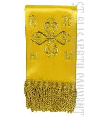 a narrow bookmark for the gospel or epistle color scheme yellow and