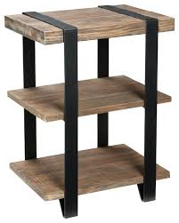 winsome wood end table antique walnut furniture 2 shelf metal strap and reclaimed inside wood end