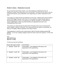 ender s game dialectical journal