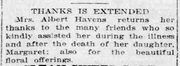 Thanks after death of daughter Margaret - Newspapers.com
